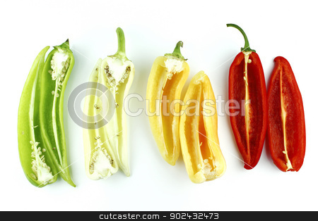 red hot chili  stock photo, Colorful hot chili pepper on a white background  by Designsstock