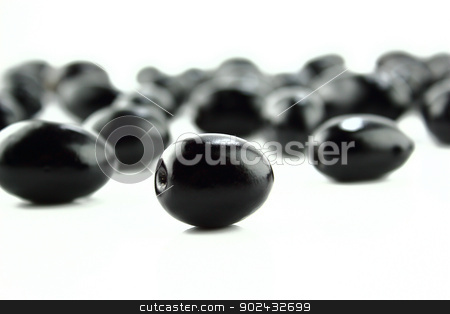 Black Olives stock photo, Black Olives on a white background by Designsstock