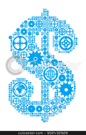 Dollar sign in the form of a gear mechanism stock photo, Dollar sign in the form of a gear mechanism. Vector illustration by sermax55