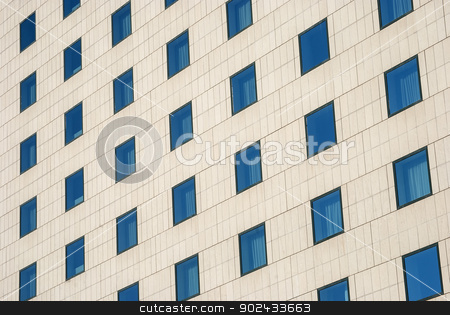 Modern building wall stock photo, Modern public building wall,  blue windows as background by Aleksandar Varbenov