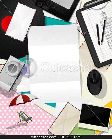 Letter collage abstract stock vector clipart, Abstract scrapbook design,  message background with various objects and letter.  by Richard Laschon