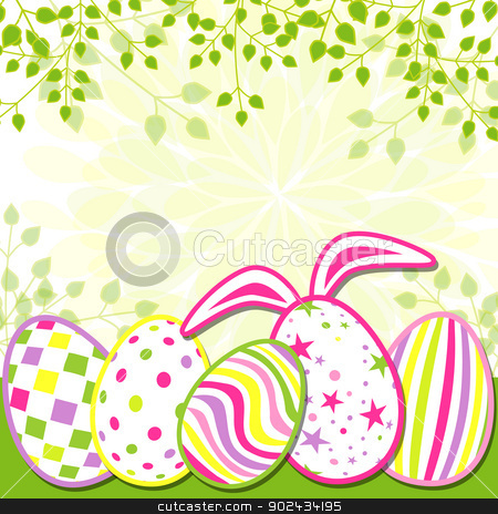 Springtime Easter Holiday Greeting Card stock vector clipart, Springtime Easter Holiday Greeting Card by meikis