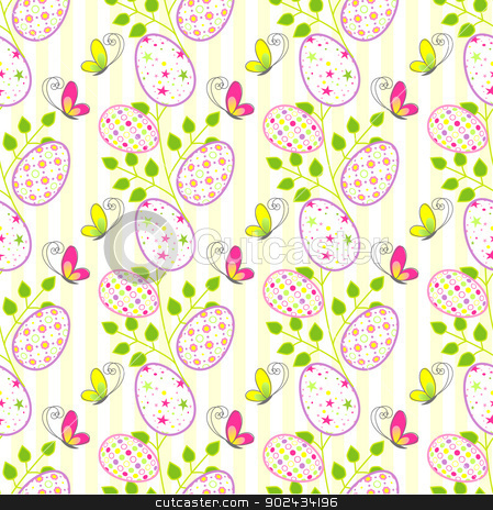 Colorful Easter holiday seamless pattern stock vector clipart, Colorful Easter holiday seamless pattern background by meikis