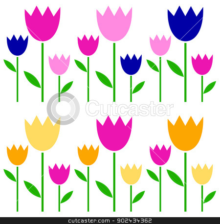 Colorful spring Tulips set isolated on white stock vector clipart, Garden Tulips in fresh colors. Vector Illustration by BEEANDGLOW