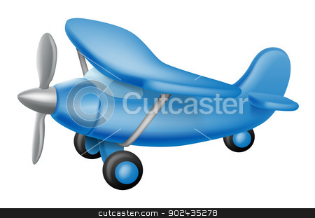 Cute little plane stock vector clipart, An illustration of a cute little cartoon blue prop plane, perhaps a child toy by Christos Georghiou