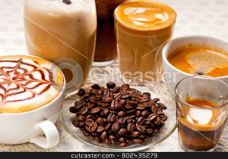 selection of different coffee type stock photo, group selection of different Italian coffee type by Francesco Perre