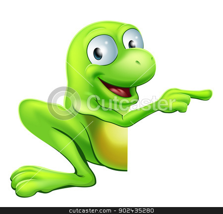 Frog peeking round sign pointing stock vector clipart, An illustration of a cute green happy frog character peeking round a sign or banner pointing at it by Christos Georghiou