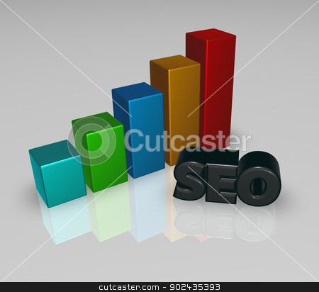 business graph and seo tag stock photo, business graph and seo tag - 3d illustration by J?