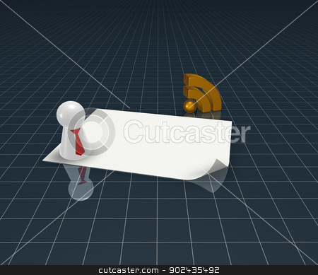 rss symbol stock photo, rss symbol, play figure with tie and blank white paper sheet - 3d illustration by J?