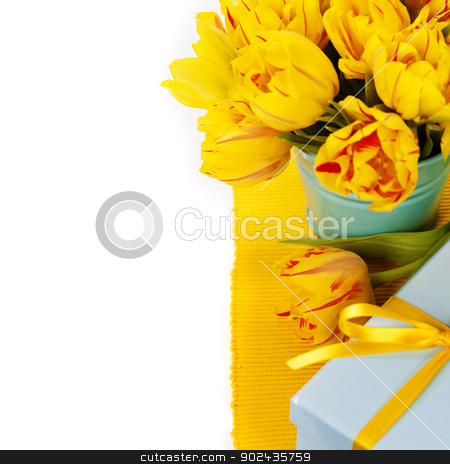 yellow tulips and gift box stock photo, yellow tulips and gift box by klenova