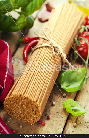 whole wheat spaghetti stock photo, whole wheat spaghetti with ingredients by klenova