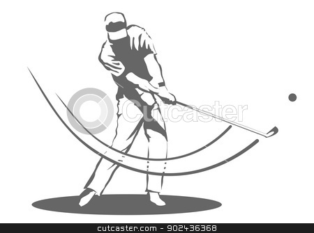 Golfer man stock vector clipart, Illustration of a man swinging a golf club. by PhotoEstelar