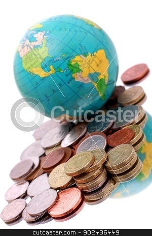 globe stock photo, image of globe with money on shiny surface with a white background by zuzanaderek