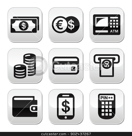 Money, atm - cash mashine vector buttons set stock vector clipart, Finance grey square buttons - atm, coins, bank notes, credit card isolated on white by Agnieszka Murphy