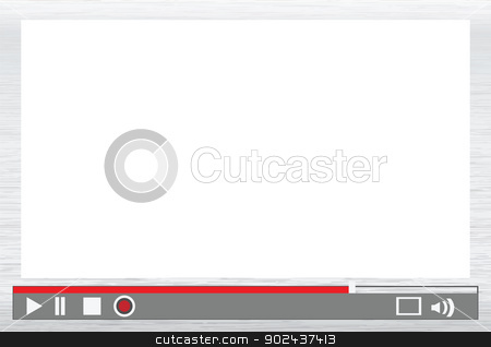 video player menu stock vector clipart, video player interface with control menu, replace with images. by Mtkang