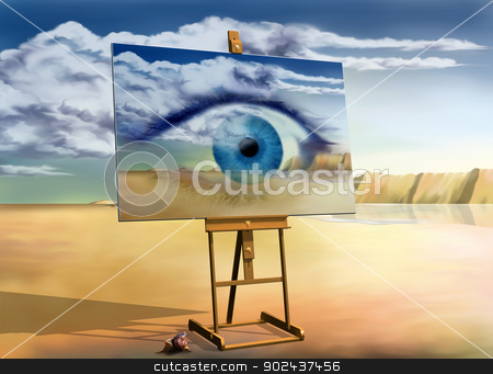 An eye with a view stock photo, Original surreal landscape with a painting of a surreal landscape by Paul Fleet