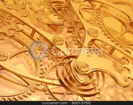 Clockwork background stock photo, Illustration of a golden background using precision engineered cogs and gears by Paul Fleet