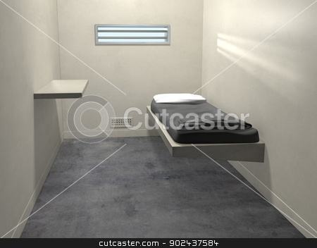 Modern Prison Cell stock photo, Original illustration of a modern prison cell by Paul Fleet