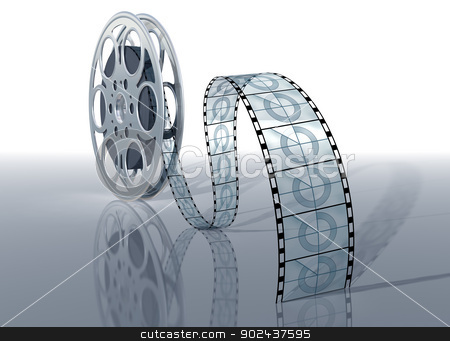 Movie reel stock photo, Illustration of a movie reel and film on a shiny surface by Paul Fleet