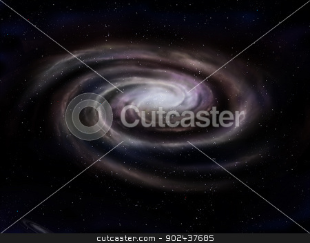 Spiral galaxy stock photo, Illustration of a deep space spiral galaxy by Paul Fleet