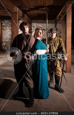 Middle Ages Heroes with Swords stock photo, Three brave middle ages characters with swords by Scott Griessel