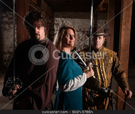 Brave Trio of Swordfighters stock photo, Trio of brave European medieval characters by Scott Griessel