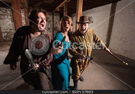 Charging Sword Fighters stock photo, Trio of threatening medieval characters charging with swords by Scott Griessel
