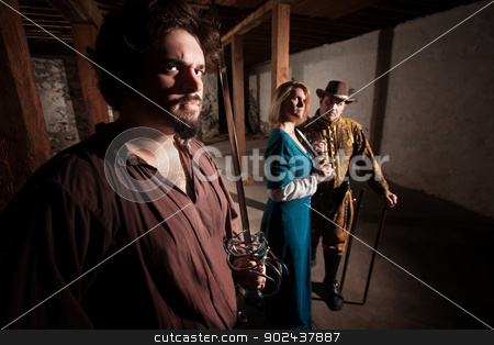 Tough Medieval Characters stock photo, Tough mercenary European medieval characters in dungeon by Scott Griessel