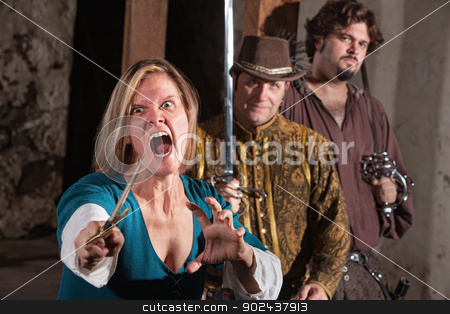 Mad Woman with Dagger stock photo, Screaming mad middle ages female with dagger and friends by Scott Griessel