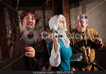 Scared Man with Sword on Neck stock photo, Scared man with lady sword fighter and king by Scott Griessel