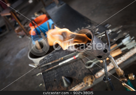 Blowtorch Close Up stock photo, Close up of blowtorch and glass making tools by Scott Griessel