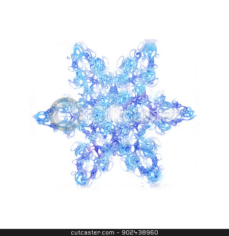 snowflake stock photo, nice blue snow flake isoletad on the white background by Jiri Vaclavek