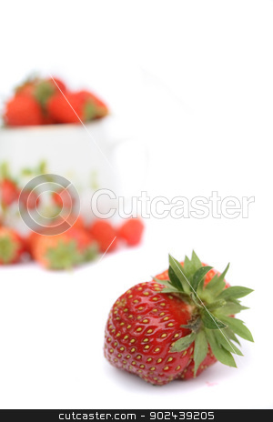 strawberries stock photo, strawberry and pot with strawberries on the white background by Jiri Vaclavek