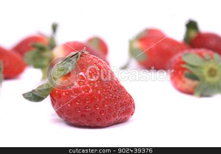 strawberries stock photo, fresh red strawberries on the white background by Jiri Vaclavek