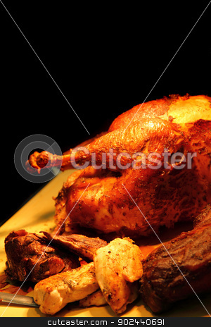 roasted turkey stock photo, roasted turkey as nice thanksgiving day background by Jiri Vaclavek