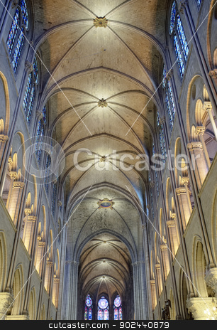 Notre Dame stock photo, Interior view of Notre Dame Cathedral, Paris, France. by Stocksnapper