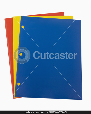 Red Yellow and Blue School Folders stock photo, Red Yellow and Blue School Folders, includes clipping path by Bryan Mullennix