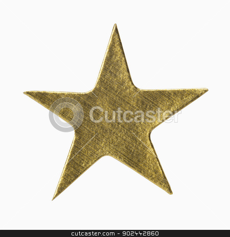 Gold Star Sticker stock photo, Gold Star Sticker, includes clipping path by Bryan Mullennix