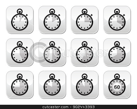 Time, clock, stopwatch vector buttons set stock vector clipart, Timer measuring different time icons on modern gey square buttons isolated on white by Agnieszka Murphy