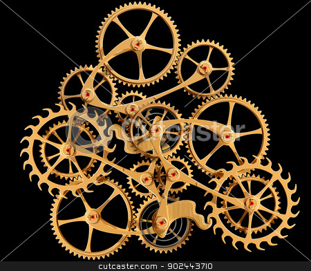 Clockwork stock photo, Illustration of precision engineered cogs and gears isolated on black by Paul Fleet