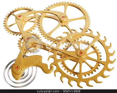 Gears and cogs stock photo, Isolated illustration of precision cogs and gears by Paul Fleet