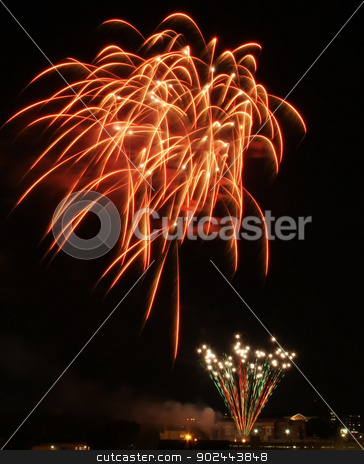 Colorful fireworks on the black sky background stock photo, Colorful fireworks on the black sky background by digidreamgrafix.com