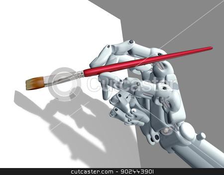 Computer Art stock photo, Illustration of a robot holding an artist paintbrush by Paul Fleet