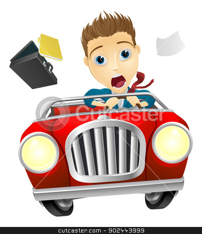 Businessman driving car fast stock vector clipart, A cartoon businessman, scared driving fast in an out of control car  by Christos Georghiou