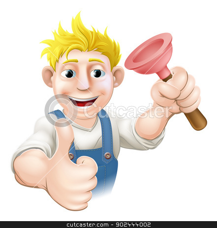 Cartoon plunger plumber stock vector clipart, An illustration of a cartoon plumber or drains guy with a sink or toilet plunger giving a thumbs up by Christos Georghiou