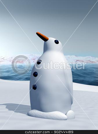 Snow penguin stock photo, Illustration of a snow penguin standing proud by Paul Fleet