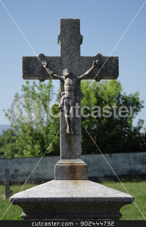 crucifix and blue sky stock photo, crucifix and blue sky from the burial place by Jiri Vaclavek