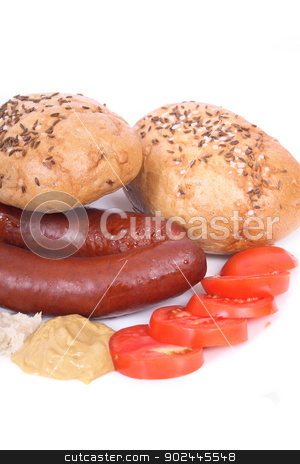 czech wursts stock photo, czech wursts isolated on the white background by Jiri Vaclavek
