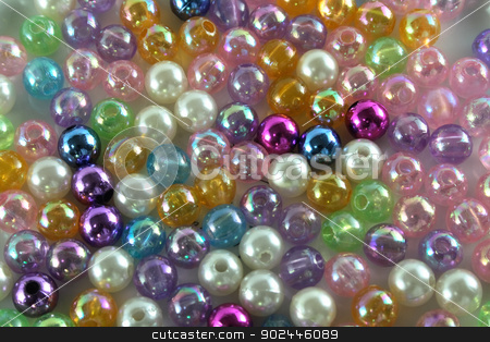 beads stock photo, small plastic or glass color beads background by Jiri Vaclavek
