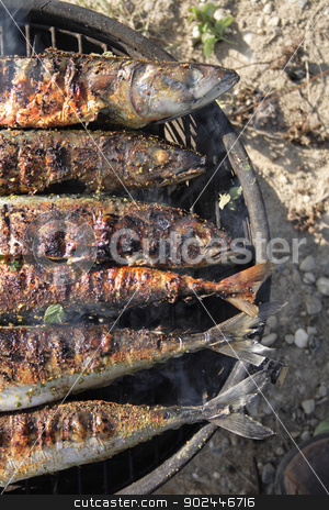 grilled fishes background stock photo, fresh grilled fishes as natural food background by Jiri Vaclavek